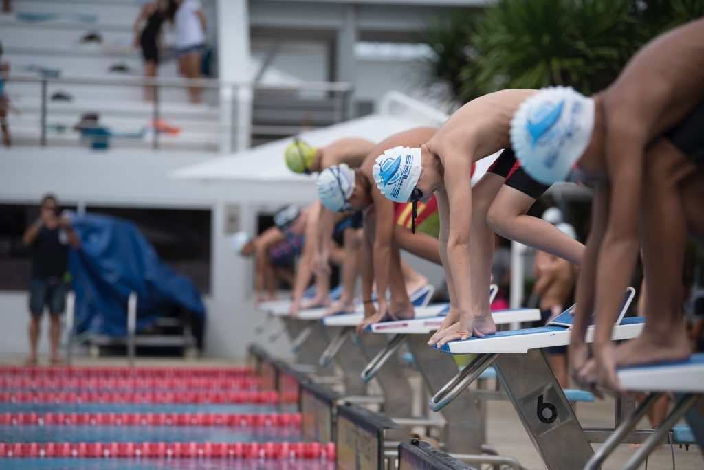 Competitors in a swimming race